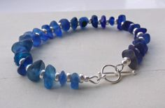 Blue Sea Glass Sterling Silver Bracelet by SeahamWaves on Etsy, £45.00