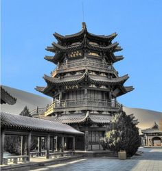 Traditional Chinese architecture can be seen throughout #Dunhuang  #China #Travel #chinesearchitecture #chinatraveling