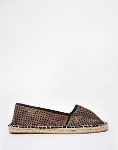 Flat shoes by Pimkie Perforated textile upper Rounded toe Raffia-style sole Wipe with a soft cloth Other Materials, Textile Upper Metallic Espadrilles, Textiles, Chiffon, Latest Trends, Asos Uk, Flats, Flat Shoes, Clothes, Fashion