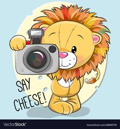 Illustration about Cute cartoon Lion with a camera on a cheese background. Illustration of photographic, nature, photographer - 103474507 Cartoon Cartoon, Camera Cartoon, Kids Cartoon Characters, Teddy Pictures, Animal Doodles, Cute Lion, Cute Clipart, Cute Chibi, Cute Drawings