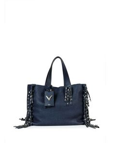 9d7e26764bbd C-Rockee Studded Fringe Leather Tote Bag