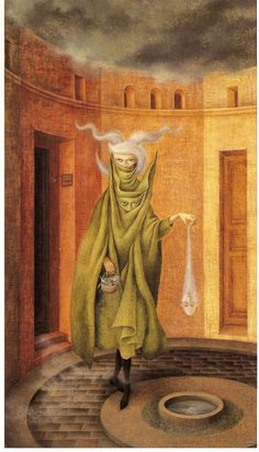 Woman Leaving the Psychoanalyst by Remedios Varo Surrealist Painter Art And Illustration, Illustrations, Fantasy Kunst, Fantasy Art, Mexican Artists, Visionary Art, Psychedelic Art, Surreal Art, Oeuvre D'art