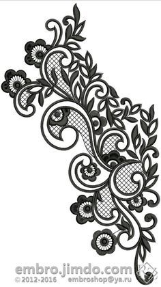 Ideas For Embroidery Cute Design Beaded Embroidery, Embroidery Stitches, Embroidery Patterns, Lace Tattoo Design, Lace Design, Border Embroidery Designs, Machine Embroidery Designs, Lace Drawing, Muster Tattoos
