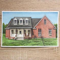 Custom house portrait Watercolor custom house portrait