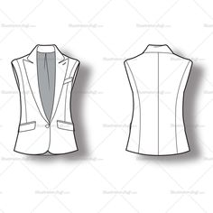 Fashion flat vector template of jacket with lapel collar and short sleeves front flap pockets, vent in the back and front button.