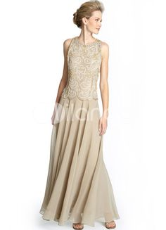 Champagne Sleeveless A-line Chiffon Mother of the Bride Dress
