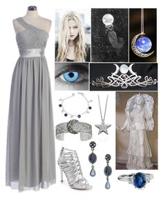 """""""Selene (Goddess of the Moon)"""" by lilacmayn ❤ liked on Polyvore featuring Stuart Weitzman, NOVICA, Blue Nile, Astley Clarke and TIARA"""