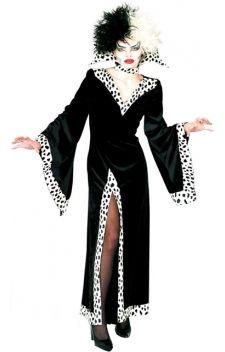 Cruella d'Enfer, la méchante du dessin animé de Walt Disney, Les 101 Dalmatiens, le costume idéal pour vos soirées déguisées sur les thèmes «dessins animés», «Walt Disney», «films» ou «méchants».