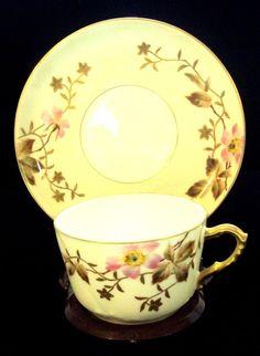 GFH Tea Cup and Saucer From France _ Haviland_ Pink Dogwood Flowers on Cream #GFHhaviland