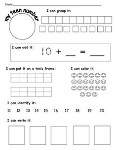 All the ways to show a teen number - Michelle Taggart - TeachersPayTeachers.com