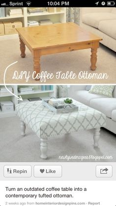 Coffee table ottoman (DIY). Oh...this might have to happen.