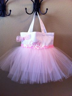Personalized Tutu Bag Pink or Blue  Name Embroidered by CeeJaze, $22.00