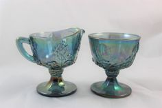 Blue Indiana Glass Carnival Glass Creamer and Sugar Bowl Set Iridescent Blue by GRCTreasures on Etsy