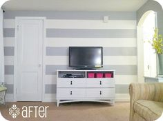 how to paint... stripe wall by Classy Clutter
