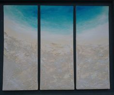 BEACH PAINTING ORIGINAL triptych large 3 Canvases each 50cm height by 20cm wide acrylic and real sand  turquoise sea modern home decor by FGillies on Etsy