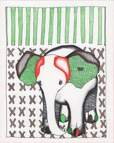 Elephant on Xs  Red and Green Animal Art  by megashark on Etsy, $13.00