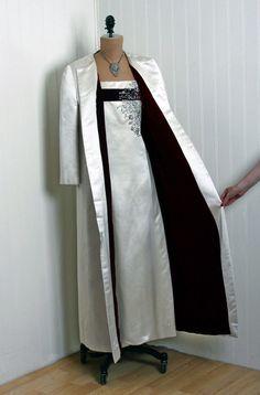 1950's Harvey Berin Beaded Ivory Satin & Red Velvet Evening Gown Coat Ensemble