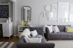 charcoal couch // white walls // white accessories // white gallery wall