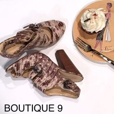 "BOUTIQUE 9 Leather 'Snakeskin' Sandals - 8 M Beautiful high-heeled strappy leather snakeskin print sandals from Boutique 9.  Leather soles, heel height 4.5"".  Excellent condition!  Size 8 M Boutique 9 Shoes Heels"