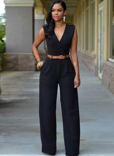 The jumpsuit is featuring v neck, sleeveless, belt decoration, wide-leg style and solid color.;Polyester, soft and comfortable;The jumpsuit is featuring v neck, sleeveless, belt decoration, wide-leg style and solid color.;Package Contents:1*Jumpsuit (No a