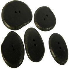 Set of 5 Large Black Tagua Sliced Buttons from Ecuador Handmade Fair Trade.