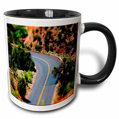 Jos Fauxtographee Miniatures - Winding Road in Zion National Park Made to Look Like it is Miniature Road with Greenery on Side - 11oz Two-Tone Black Mug (mug_45380_4) 3dRose http://www.amazon.com/dp/B013513ZMK/ref=cm_sw_r_pi_dp_D-sZwb0BSWBTD