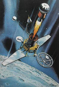 1962 MOON RANGER Vintage NASA Illustration OUTER SPACE CRAFT