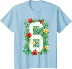 Amazon.com: Floral Number 6 Flower Six Gardener Summer Flowers T-Shirt: Clothing
