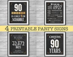 90th Birthday Printable Party Decor 4 Unique 8x10 Signs by NviteCP, 90th Birthday, 90th Anniversary, 1927 sign, 90th