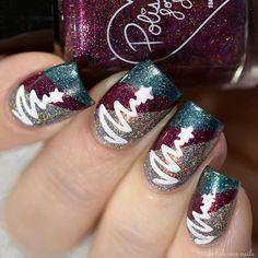 Christmas tree nail art.  Holiday nail design.