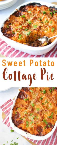 Sweet Potato Cottage Pie - Rich beef mince filling with carrots, celery and onions. This healthy cottage pie recipe makes the perfect family dinner recipe. Also suitable for freezing and easy to make Slimming World friendly or gluten free. food via Healthy Beef Recipes, Meat Recipes, Real Food Recipes, Cooking Recipes, Easy Mince Recipes, Minced Beef Recipes Easy, Drink Recipes, Free Recipes, Recipes