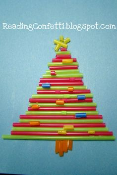 Drinking straw Christmas tree craft - instead of straws for the ornaments I think I would use sparkly pom poms