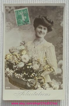 French Antique Postcard - Woman with a Basket of Flowers by ChicEtChoc on Etsy