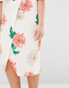 Image 3 ofASOS CURVE SALON Occasion Wrap Front Wiggle in Floral Print