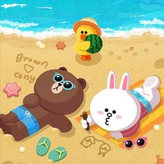 Brown and Cony Cute Love Pictures, Cute Love Gif, Cony Brown, Brown Bear, Cute Illustration, Character Illustration, Line Cony, Cute Baby Cats, New Toy Story