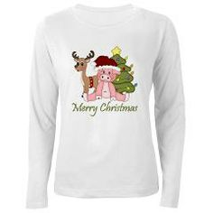 Christmas Pig, Reindeer and Tree Women's Long Slee> Christmas Pig, Reindeer and Tree> Nature Tees