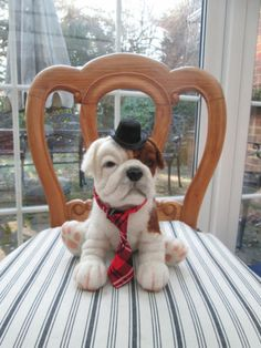 Artist Needle Felted OOAK dog; English Bulldog