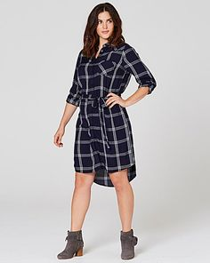 Navy/Ivory Checked Shirt Dress | Simply Be