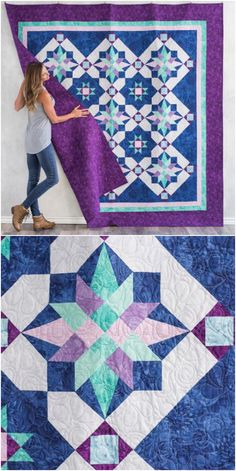 Charted Course Quilt Kit | Craftsy.com.  Map your way to a piecing adventure with Charted Course in Boundless   Collage! A variety of blocks will keep you interested as you stitch. Use   the included templates to create crisp points in your Mariner's   Compass-inspired blocks. affiliate link.