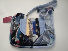 purses made from mens neckties | Blue Lady's Handbag made from Men's Neckties - Handbags & Purses