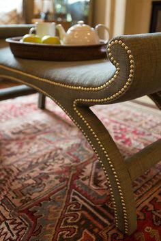 small bench used as coffee table as well..