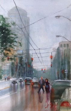 ARTFINDER: Late For the Show by Gregg DeGroat - Watercolor of a downtown couple late for a show.