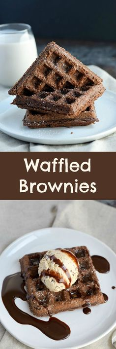 Fudgy, Waffled Brownies fresh out of your waffle iron and ready for ice cream…