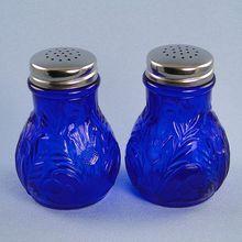 Mosser Glass  Cobalt Blue Salt Pepper Shakers Inverted Thistle Design