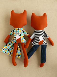Two Fabric Doll Foxes Boy and Girl Fox Doll Rag by rovingovine