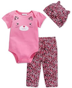 First Impressions Baby Girls' 3-Piece Cat Bodysuit, Pants & Hat Set, Only at Macy's