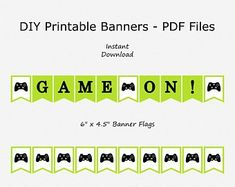 Etsy :: Your place to buy and sell all things handmade Boys 8th Birthday, 19th Birthday, Birthday Games, Happy Birthday Banners, Blacked Videos, Off Game, Printable Banner, Party Signs, Bottle Labels
