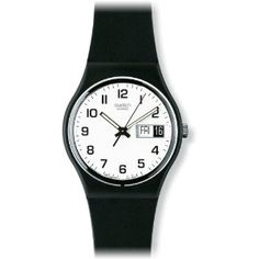 Swatch Once Again White Dial Black Strap Mens Watch