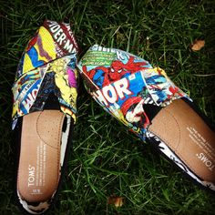 Handmade Marvel Comic Toms by ElizabethRoseShoes on Etsy, $100.00 @Jenna Parsons I want to get these for you!