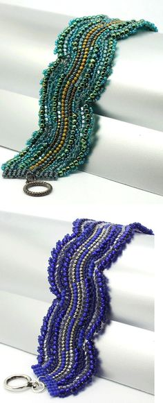 Free Pattern - Blue Wave Bracelet by nellie